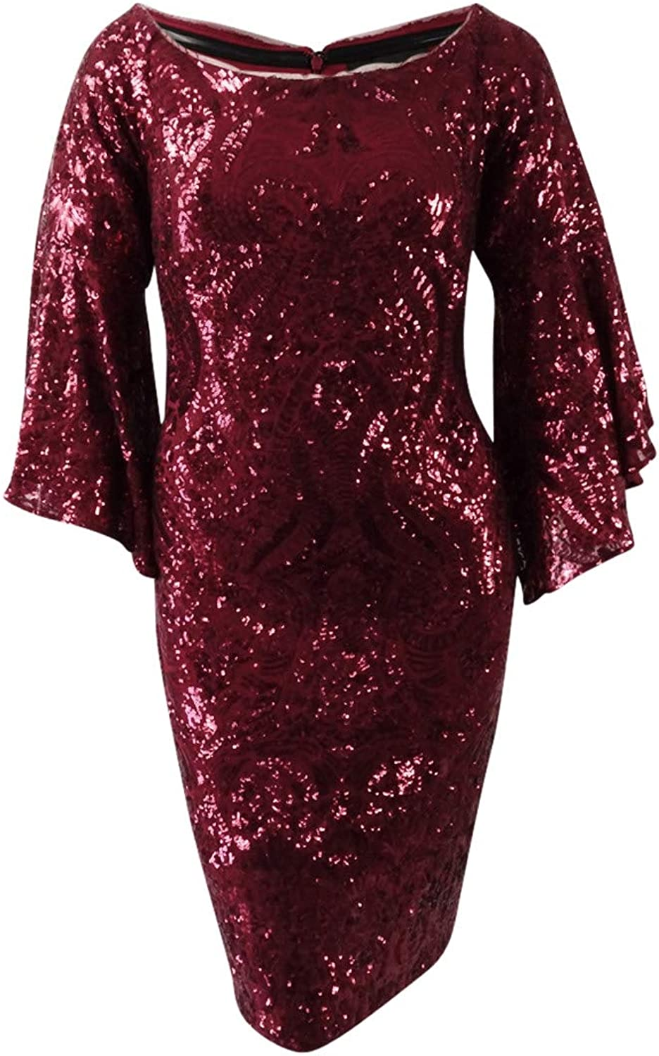 Betsy & Adam Womens Sequined Bell Sleeves Party Dress