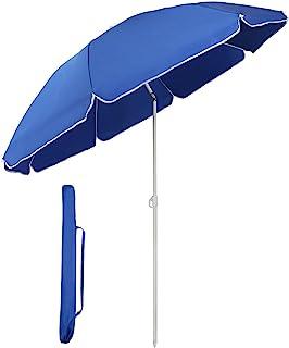 Sekey® Sombrilla Ø 160 cm Parasol para terraza jardín Playa balcón Piscina Patio, Color Azul, Protector Solar UV20+