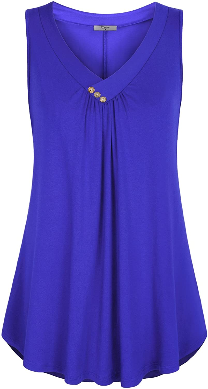 Cestyle Womens Sleeveless V Neck 5 ☆ popular Front Shirts Dallas Mall Tank Pleated Flowy