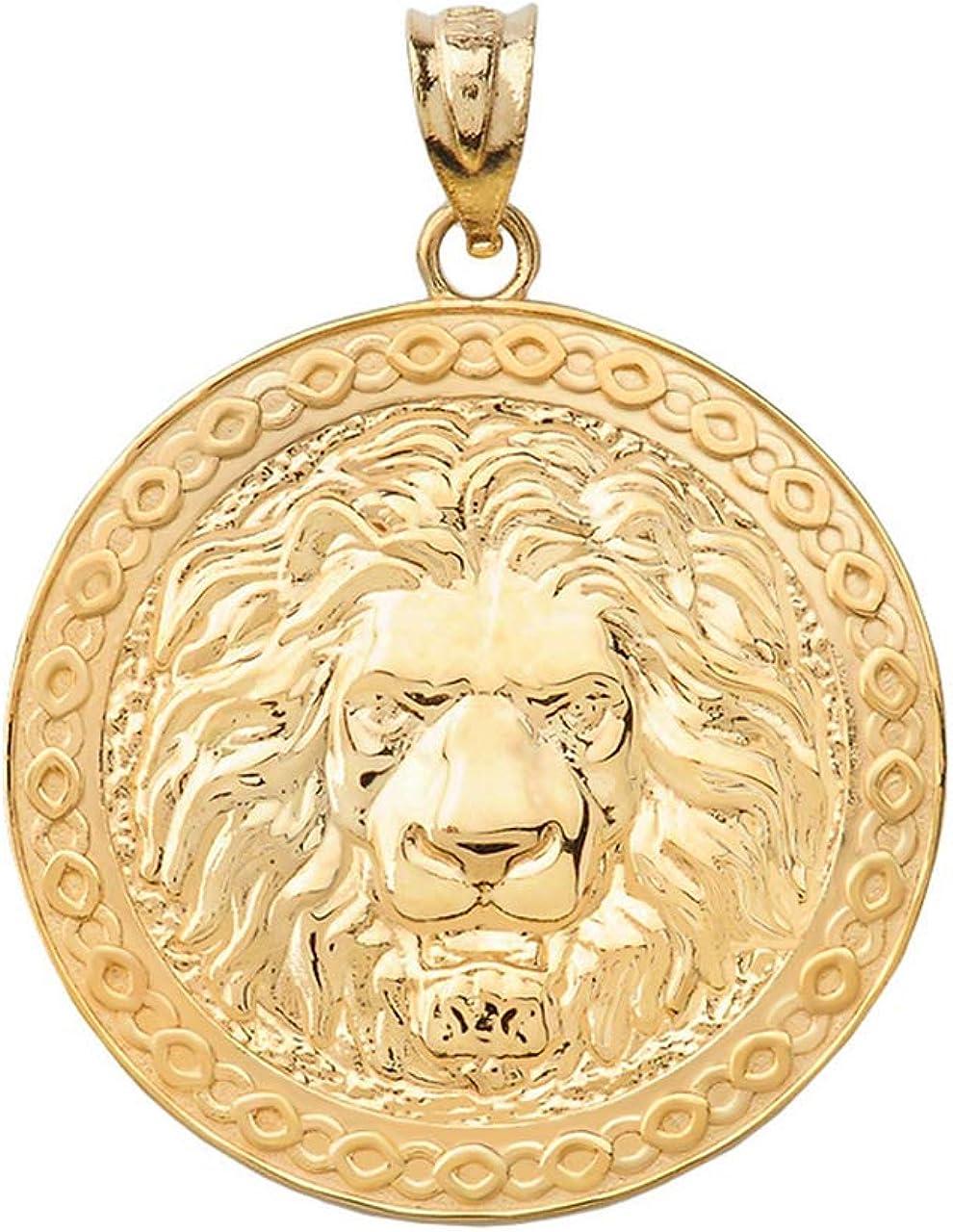 Certified 10k Gold Lion Head Medallion Round Pendant Charm Necklace