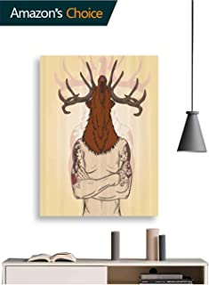 Canvas Wall Art, Hipster Man Tattoos Deer Head Art Painting Print for Living Room Decor, 8W x 10H Inches(No Frame)