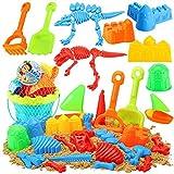 3 otters Beach Toys Set, 25pcs Dinosaur Castle Sand Toys Toddlers Beach Castle Toys Foldable Beach Bucket