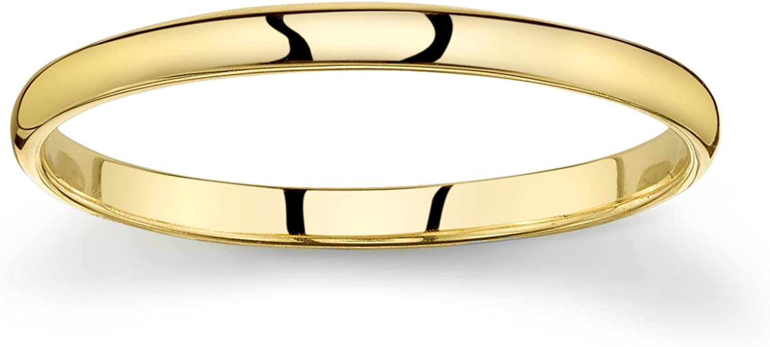 10k Yellow or White or Rose Gold Light Comfort Fit 2mm Plain Wedding Band