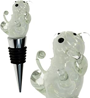 PrestigeHaus Glass Polar Bear Wine Bottle Stopper - Decorative, Colorful, Unique, Handmade, Eye-Catching Glass Wine Stoppers - Wine Accessories Gift for Host/Hostess - Wine Corker/Sealer