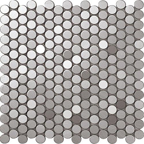 Bello Pulsante Tondo Art Deco metallo mosaico acciaio inossidabile Mosaico muro300*300mm--Cucina Backsplash/Parete da bagno/decorazione domestica(SA021) (11 tappetini /m², SA021-2)