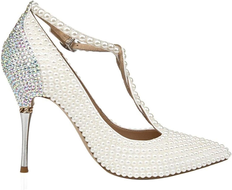 Frauen Kristall Schuhe Dünne High Heels Perle Diamant Handgefertigte Leder Nachtclub Abend Hochzeit Party Pumps Braut Brautjungfern T Straps Sandalen