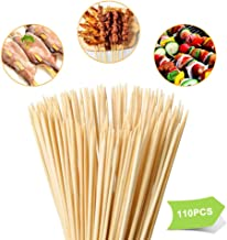 "Tioolioo Bamboo Skewers 8"" Natural Roasting Skewers Sticks for BBQ Grilling,Chocolate Fountain,Appetiser,Crafting,Party,Marshmallow Roasting or Fruit Sticks,F= 4mm, Size 8"" 10"" 12"" 14"" 16"" (110PCS)"