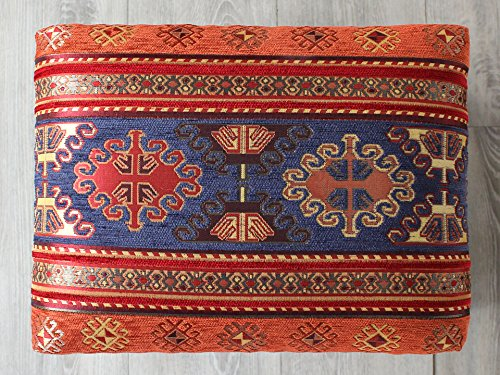 ビンビルゲジェオットマン木製スツールレクタングルネイビー39.5×30.5cm