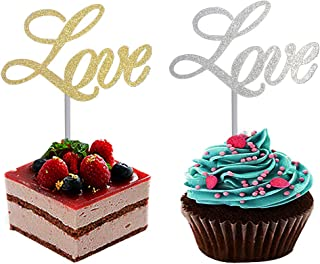 Gold Glitter LOVE and Silver Glitter LOVE Cake Toppers Set of 2, for Engagements Weddings Birthday Anniversaries