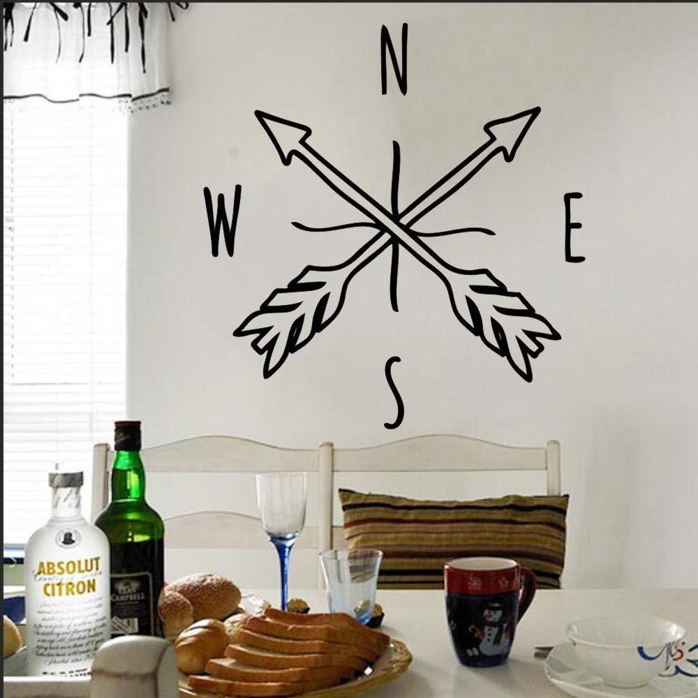jiushixw Tatuajes de Pared Doodle Flecha Pegatinas de Pared Brújula Accesorios Interiores Decoración para el hogar Moda Niños Habitaciones Arte Mural Fondos de Pantalla 57x60cm: Amazon.es: Hogar