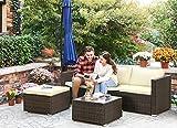 Gartenmöbel-Set 5-teilig aus Polyrattan handgeflochten Gartensofa Gartentisch mit Glasplatte - 5