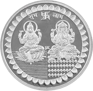 Msa Jewels Oval Shape Pure Silver 999 Coin of Laxmi and Ganesh with BIS Hallmark (20 Grams) - Set of 2
