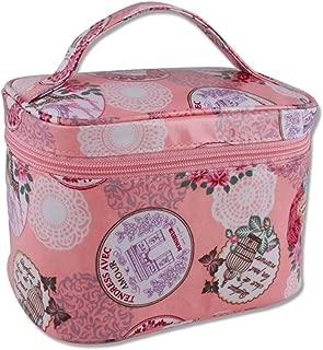 化粧品袋 化粧品ケース 化粧品バッグポータブル化粧ケース大容量防水性保存袋化粧品バッグ収納ボックス (Color : Pink, Size : 18.4*12*13.6cm)