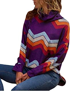 Macondoo Women's Top Long-Sleeve Blouse Loose Print Turtle Neck Sweatshirts