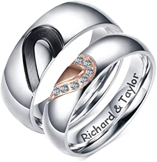 MEALGUET Personalized Engraving Name Stainless Steel Matching Heart Love His and Hers Promise Ring Wedding Band for Lovers