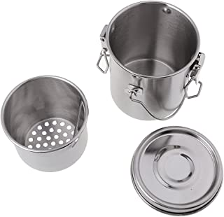 CUTICATE All-Purpose Stainless Steel Leak-Proof Makeup Brush Washer Oil Acrylic Paint Brush Cleaner Brush Washing Bucket Cup Pot Kit with Lid and Filter Screen