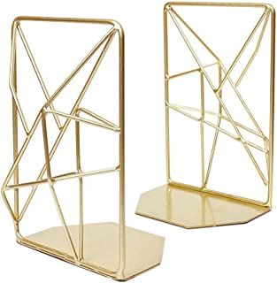 SNOWINSPRING 2Pcs Geometric Bookends with Matte Finish Decorative Iron Book Stoppers Industrial/Home/Office Shelf Decor Ru...