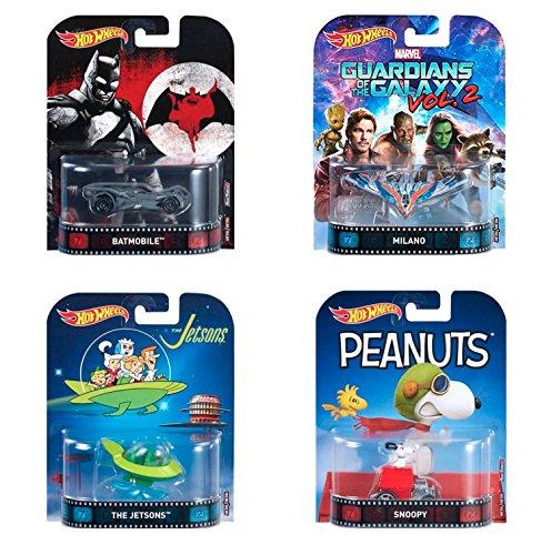 Pack Regalo Original 4 Hot Wheels Retro (Batmobile, Milano, Snoopy, The Jetsons Capsule Car)