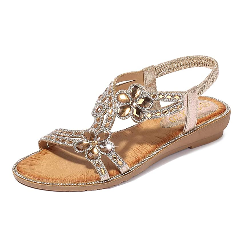 Mosunx Clothing Women's Boho Flat Sandals, Ladies Summer Wedges Crystal Flower Open Toe Slip On Sandals Girls Bohemian Beach Casual Shoes