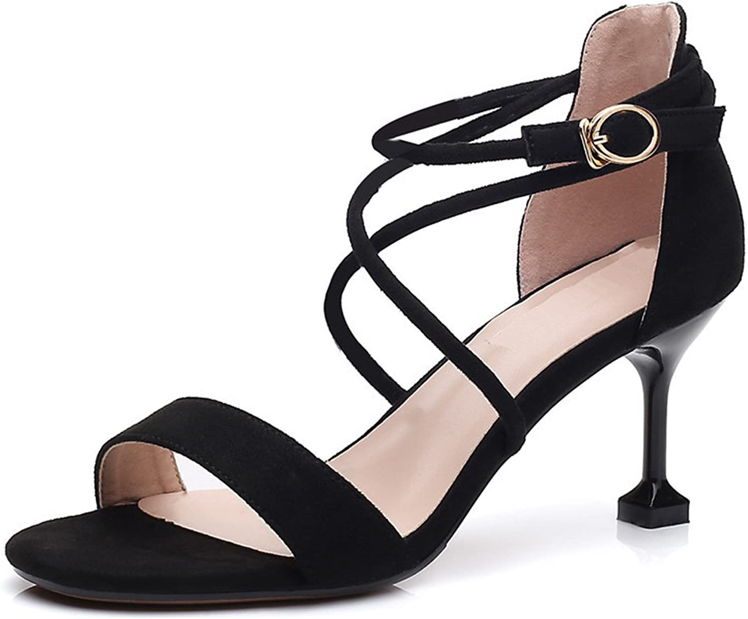 Dreneco Womens Kitten Heel Ankle Strap Sandals Ladies Peep Toe Strappy Party shoes