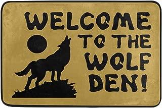Merle kum Non-Slip Doormat Welcome to The Wolf Den Entrance Floor Mat Funny Doormat Home and Office Decorative Indoor/Outdoor/Kitchen Mat Non-Woven Fabric 23.6