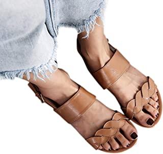 Amlaiworld Retro Womens Fashion Flat Slippers Sandals Straps Buckle Open Toe Beach Casual Shoes Roman Sandals
