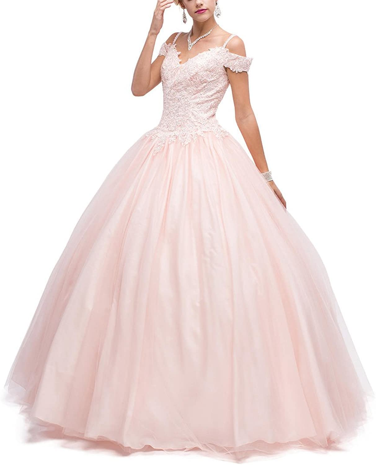YSMei Women's Off Shoulder Wedding Prom Ball Gown Long Quinceanera Dresses YQC57