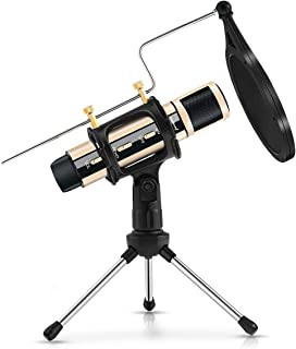 ZealSound Condenser Recording Microphone, Tripod Stand Built-in Sound Card Echo For Studio Broadcast Live Stream ASMR Game...