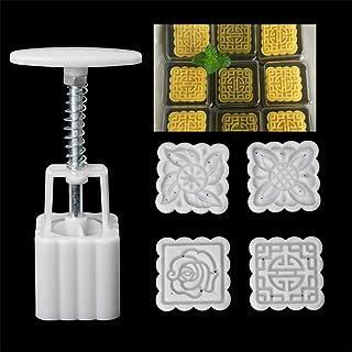 CCChaRLes 4 Timbres Moon Cake Square Moule 3D Diy Diy Moule Mooncake Mi-Automne Festival De Cuisson Accessoires
