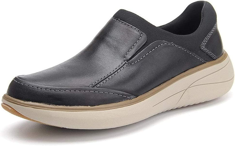 MUJUN 2019 Mode Herren Outdoor Walking Casual Loafers Slip-on Flache Low Top Round Toe Echtes Leder Vollgummi-Laufsohle Anti-Rutsch (Farbe   Schwarz, Größe   44 EU)