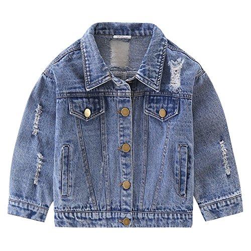 LSERVER LSERVER Mädchen Jeans Jacke Kinder Jungen Jeans Mantel Steppjacke mit Buchstaben Aufdruck,90