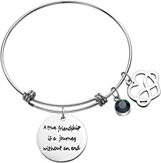 Sunflower Jewellery Birthstone Charm Bracelet A True Friendship is a Journey Without an end for Best Friends