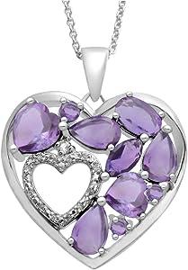 Jewelili Sterling Silver Heart shaped Diamond and Gemstone Pendant