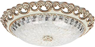 Bright European Retro Living Room Bedroom Round Stained Glass Chandelier Balcony Corridor Tiffany Style Sheet Metal White ...