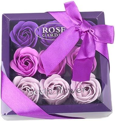 人工花、9個のバラ石鹸花ギフトボックス人工ローズパーティー結婚式の装飾装飾ギフトDIY