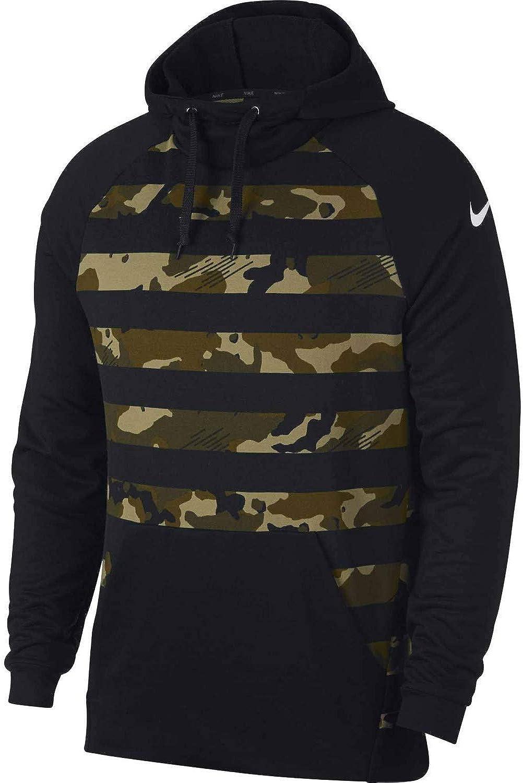 Nike Men's Pullover Camo Hoodie Sweatshirt Black Greenv