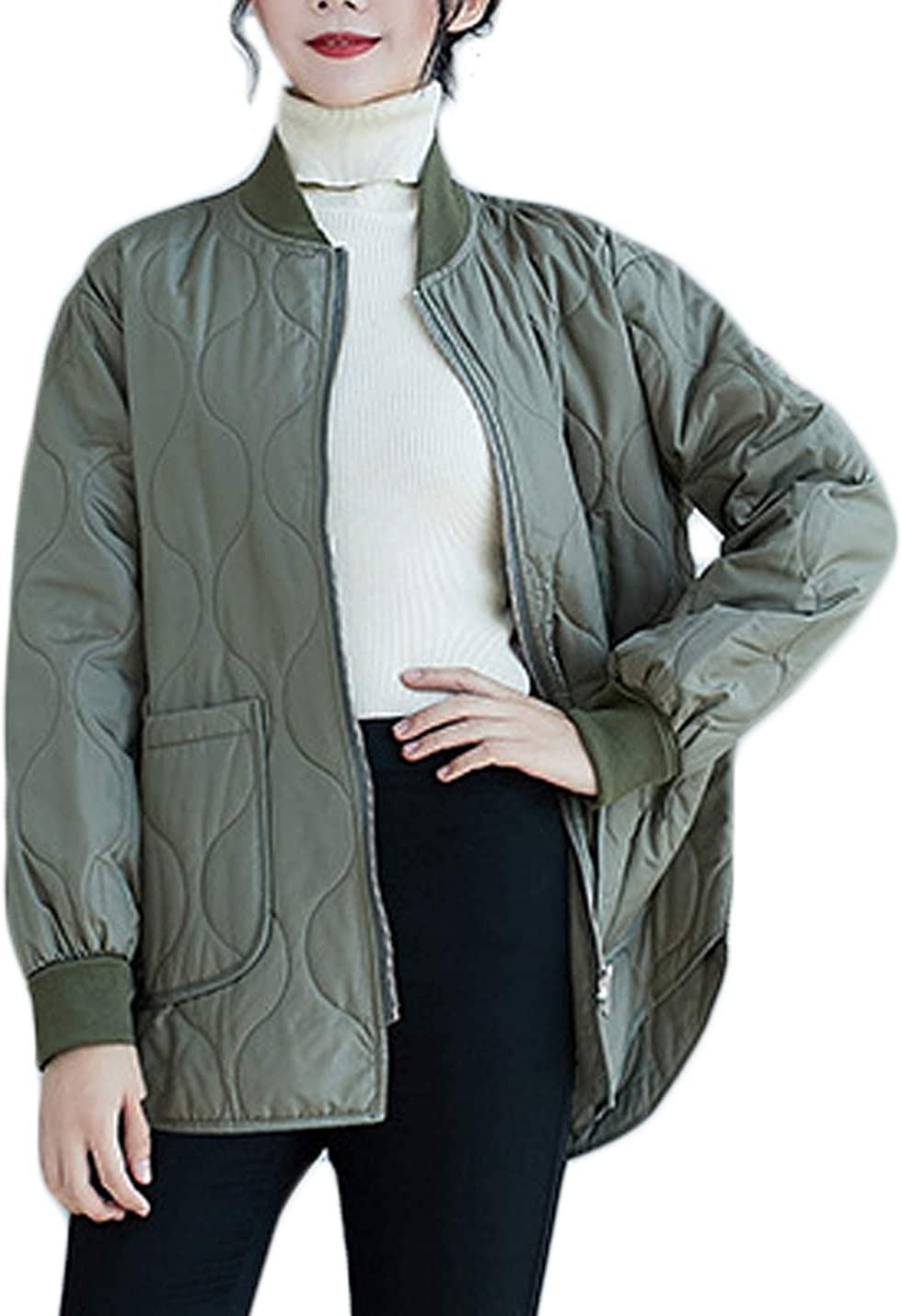 Jenkoon Women's Lightweight Quilted Padding Jacket Loose Fit Bomber Jacket