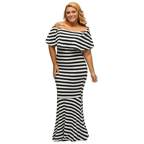 31a1aee0208 Gloria Sarah Women s Off The Shoulder Mermaid Striped Ruffle Tube Plus Size Maxi  Dress