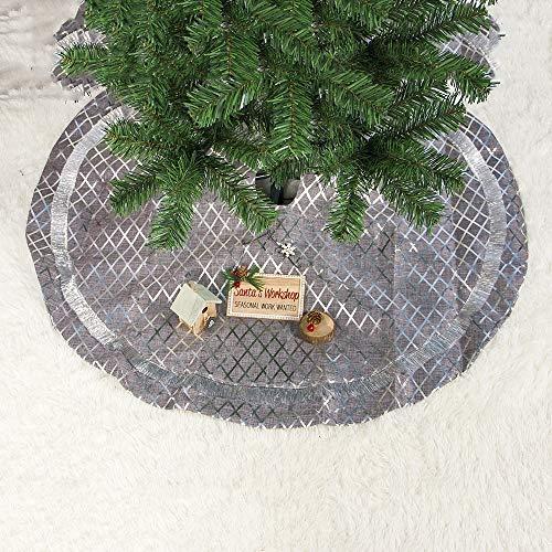 NOBRAND SDHF Falda del árbol de Navidad de Plata Tela Escocesa Decoración de la Navidad de Fondo, tamaño: 90x90cm, 2 PCS (Color : Lattice)