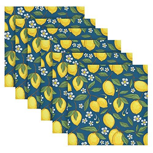 Servilletas de Tela con diseño Tropical con Limones Amarillos, Juego de 6 servilletas de Mesa Reutilizables para cócteles,...