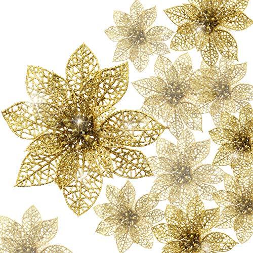 24 Stück Glitter Poinsettia Weihnachtsbaum Ornament Weihnachten Blumen Dekor Ornament (Gold)