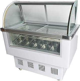 INTBUYING Commercial 12 PAN Hard Ice Cream Showcase Gelato Dipping Cabinet Freezer Display Case 220V White