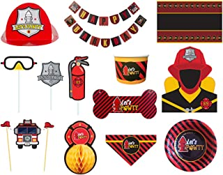 C.R. Gibson Molly & Bandit Firefighter Theme Deluxe Dog Birthday Party Kit for 6 Pets