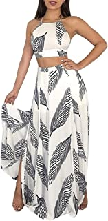 Womens 2 Piece Outfits Summer Floral Beach Crop and Side Slit Skirt Sexy Crop Top Maxi Skirt Set Bandage Club Dresses