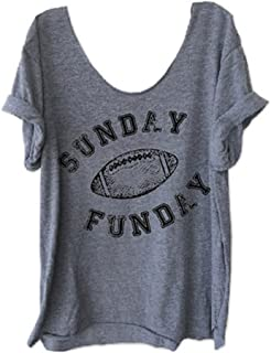 Women O-Neck Sunday Funday Baseball Letters Print Tops Funny T-Shirt Casual Short Sleeve Blouse