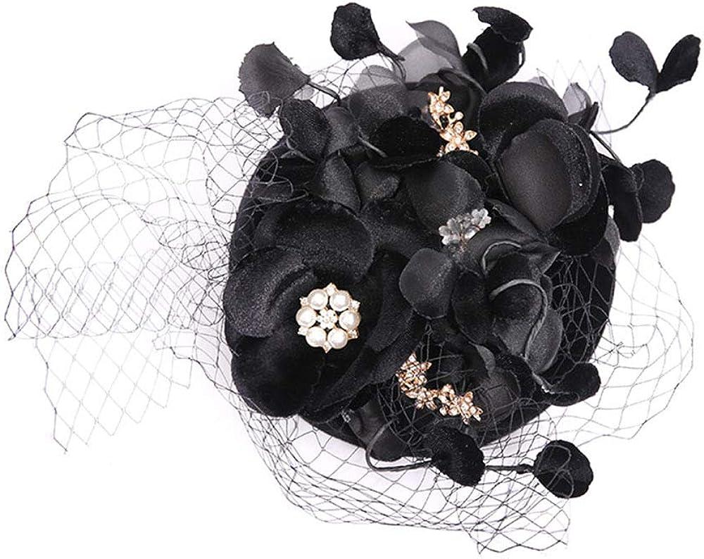 F FADVES Fascinators Hat Pillbox Vintage Veil Wedding Tea Party Hat Hair Clip Flower Headwear