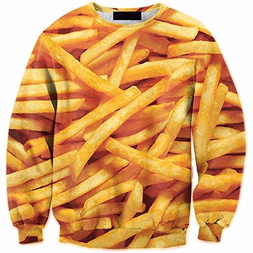 WHLWY Langärmelige Pullover Und Langärmelige Pullover Pullover 3D Pommes An Männlichen Stempel Pullover 4XL Kapuzenpullover
