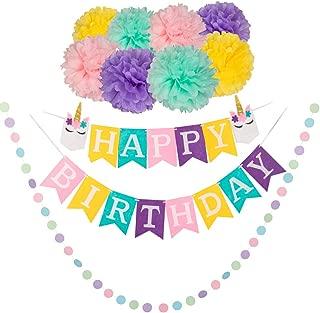 Unicorn Birthday Party Decorations Happy Birthday Banner Paper Pom Poms Garland Kit
