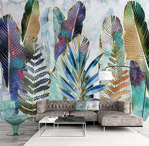 Fondo de pantalla de pared 3D Fondo de pantalla de plantas tropicales nórdicas Acuarela pintada a mano Pintura de pared Sala de estar TV Sofá Fondos de pantalla-250 * 175 cm