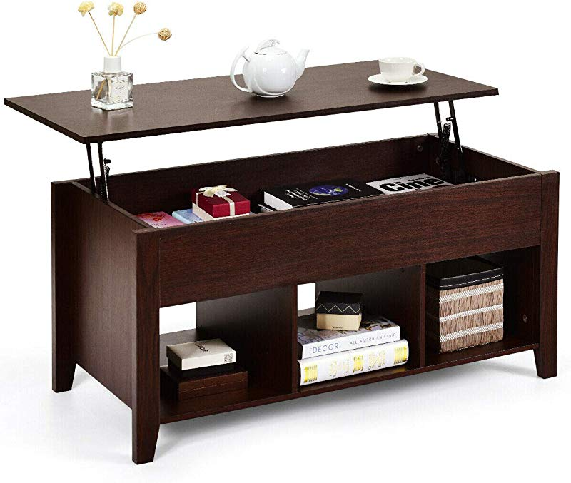 Tangkula Lift Top Coffee Table Wood Home Living Room Modern Lift Top Storage Coffee Table W Hidden Compartment Lift Tabletop Furniture Brown